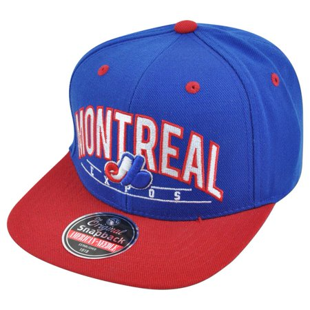 MLB American Needle Montreal Expos Archer Snapback Flat Brim Adjustable Hat Cap - Montreal Halloween Store