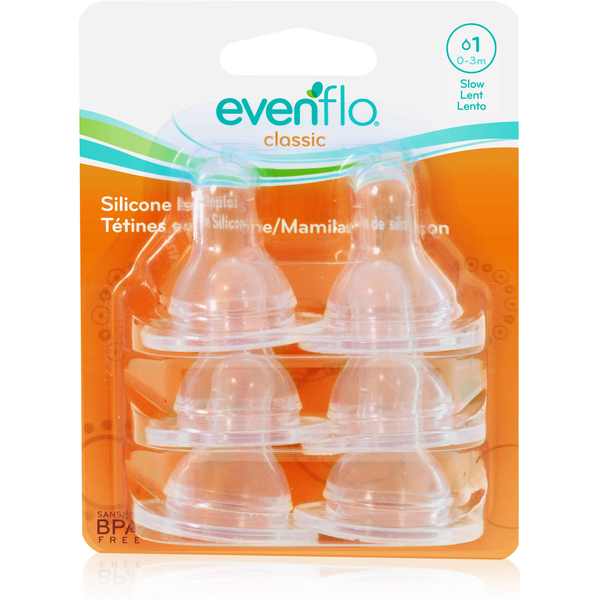 Evenflo Classic Slow Flow Nipples, 6pk