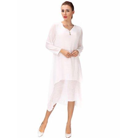 9b500263f6 Lelinta - Women s Square Neck Double Layer Flax Linen Irregular Maxi Skirt  Plus Size - Walmart.com