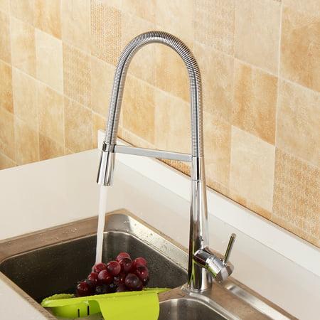 Deck Mount Basin Set - 360 Degree Revolving Goose Bathroom Neck Deck Mounted Hot Cold Tap Pull-Down Basin Sink Faucet