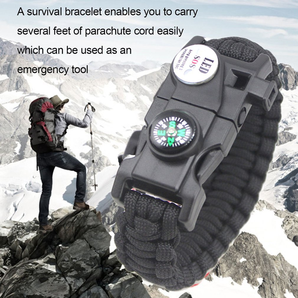 EMAK 20 In 1 Waterproof SOS LED Light Outdoor Camping Hiking Survival Bracelet