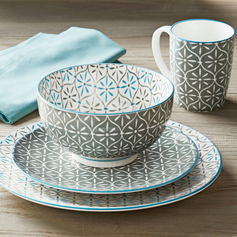 Walmart Housewares: Better Homes & Gardens Piers Gray Mix And Match Dinnerware