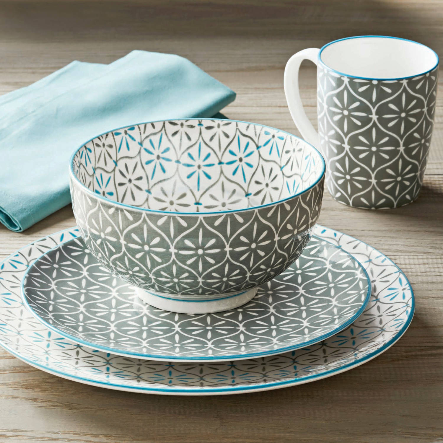 Better Homes And Gardens Piers Gray Mix And Match 16 Piece