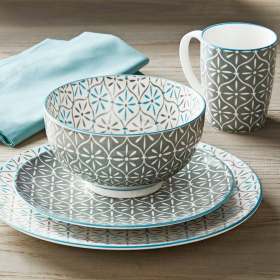 Better Homes And Gardens Piers Gray Mix And Match 16 Piece Dinnerware Set