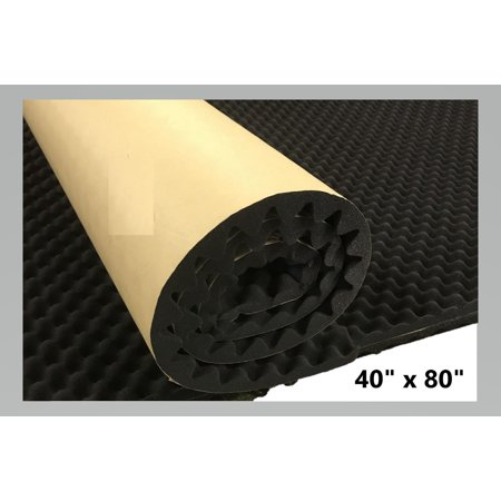 "Self Adhesive Egg-Crate Acoustic Foam Soundproofing Home Theater Recording Studio Sound Proof Wall Tile Car Audio 40"" x 80"" x 1.4"""