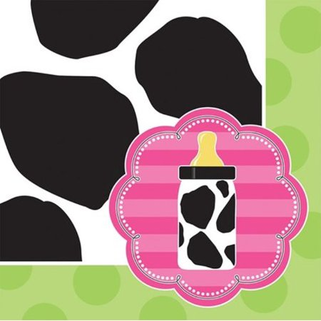 16-Count Paper Beverage Napkins, Baby Girl Cow Print for $<!---->