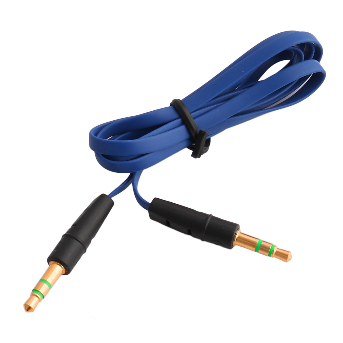 3.3ft Plastic Thin Noodle Shaped 3.5mm Male to Male MP3 Player Audio Cable Blue