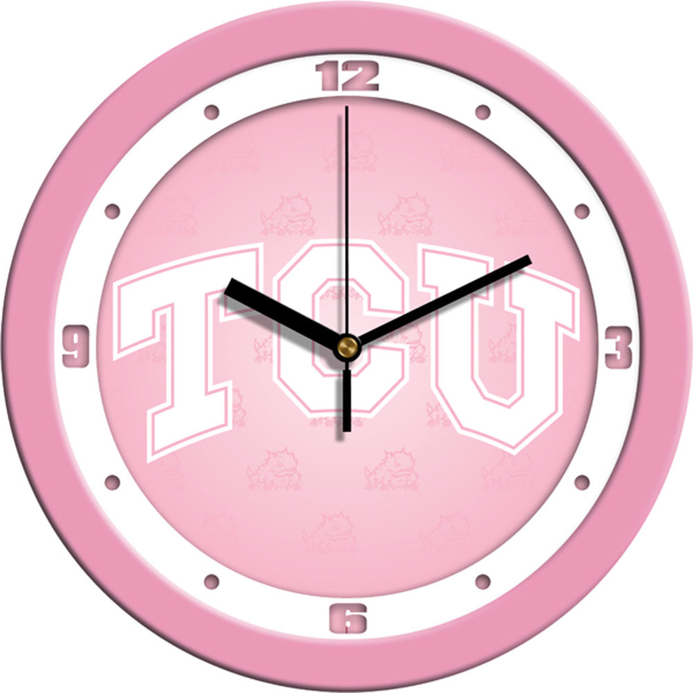 Texas Christian Horned Frogs NCAA Wall Clock (Pink)