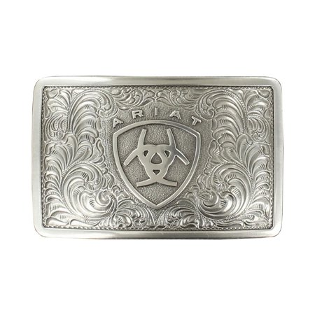 Ariat Men's Rectangle Filigree Belt Buckle Silver -