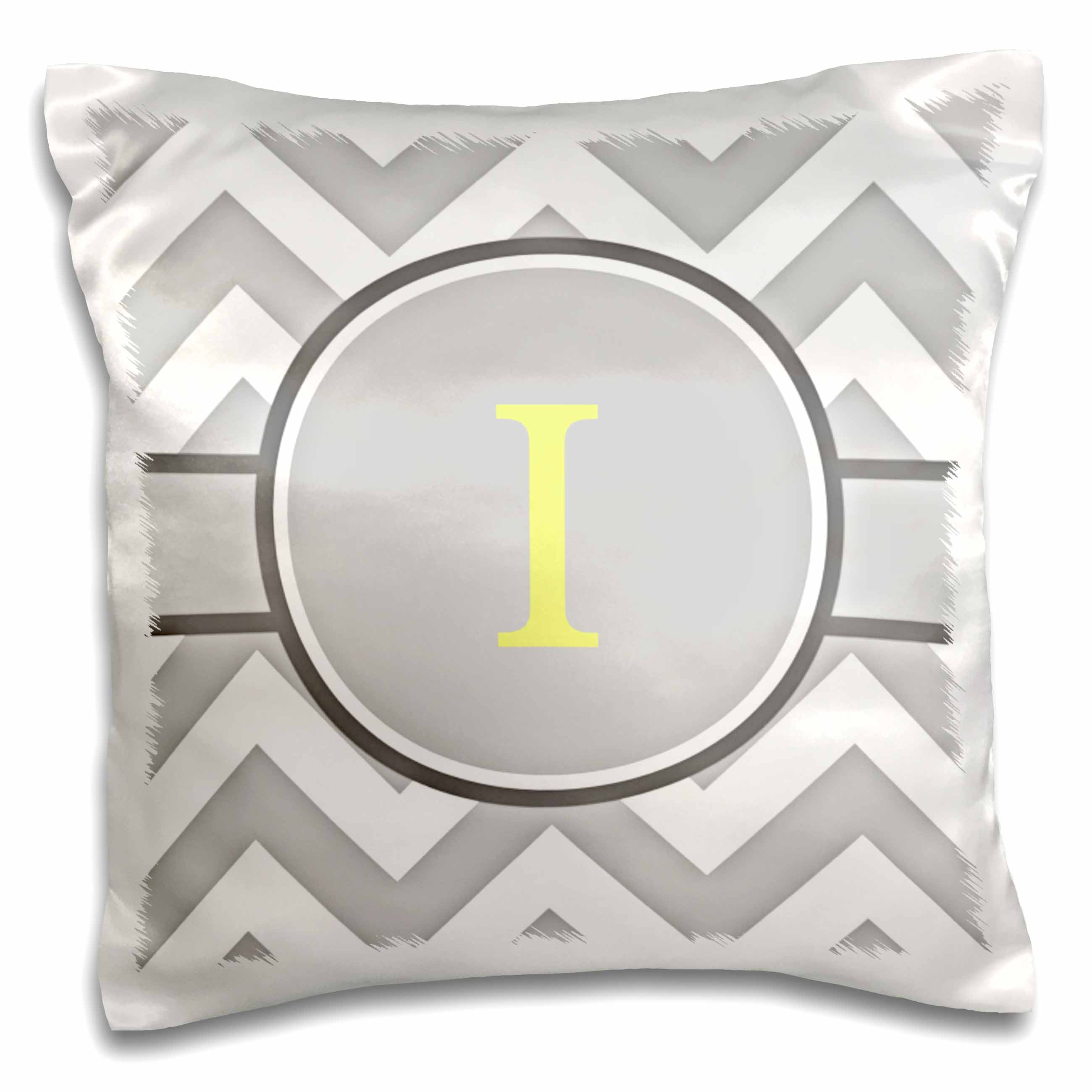 3dRose Grey and white chevron with yellow monogram initial I, Pillow Case, 16 by 16-inch