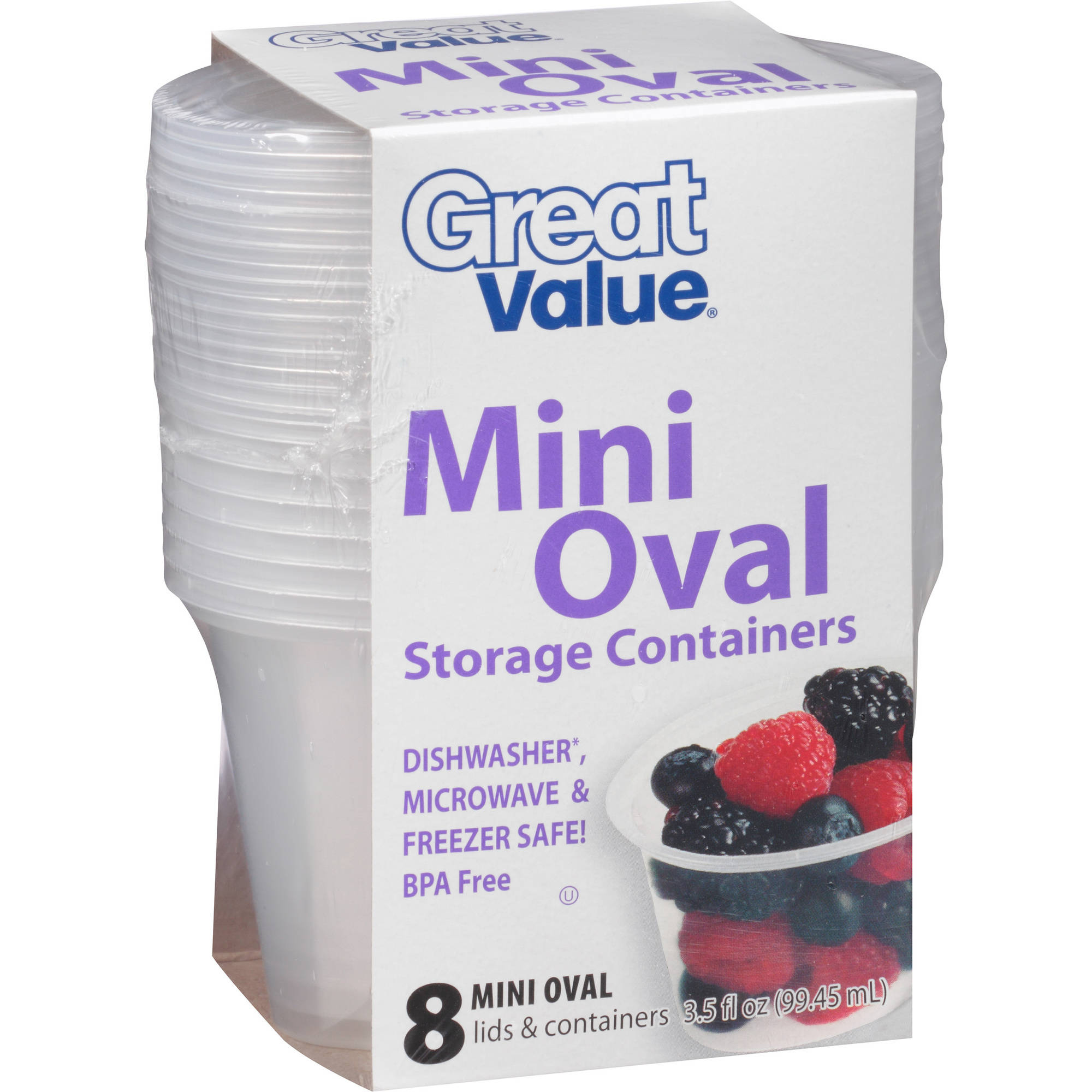 Great Value Mini Oval Storage Containers, 3.5 fl oz, 8 count