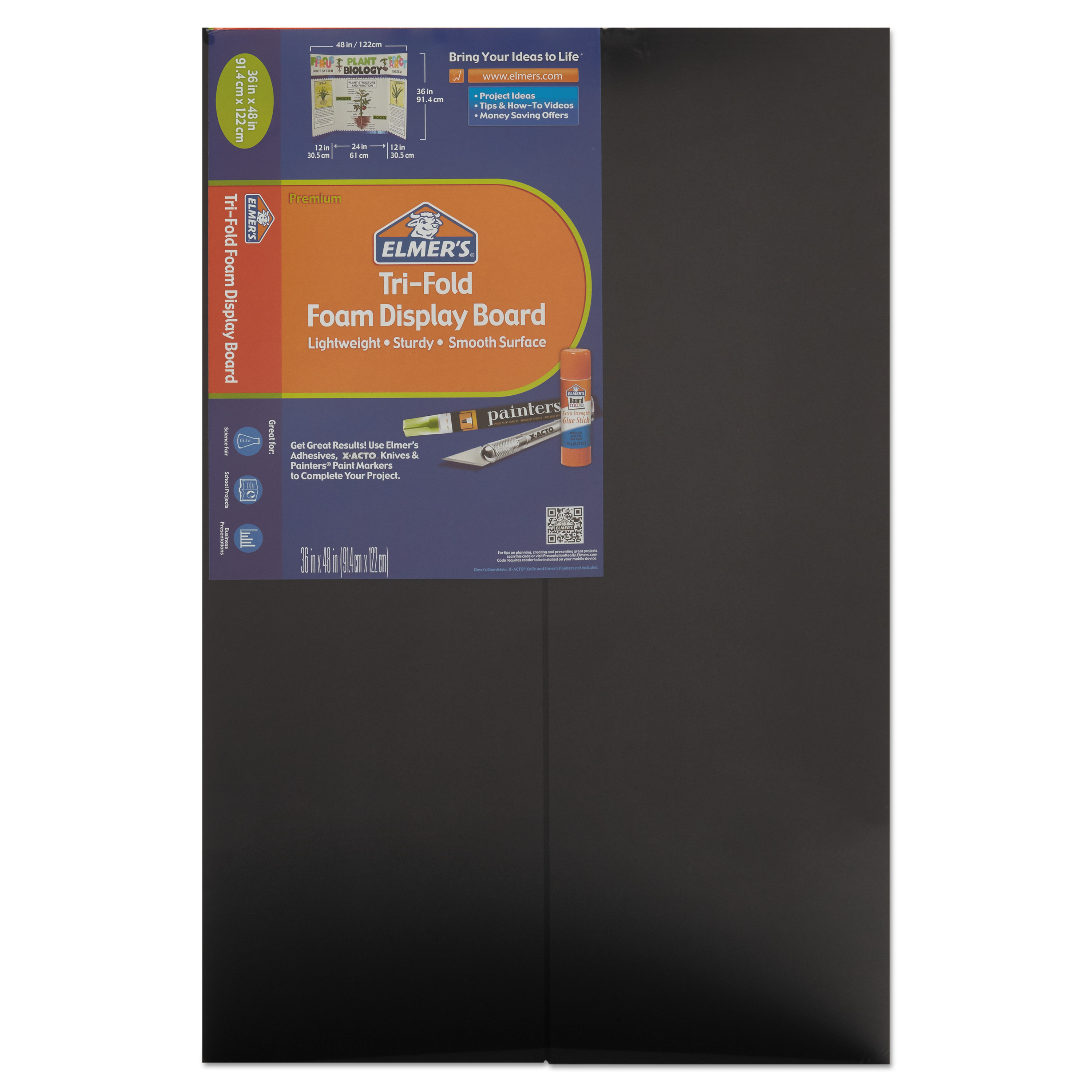 "Elmer's Premium Foam Tri-Fold Display Board, 3/16"" Thick, 36"" x 48"", Black, 12-Pack"