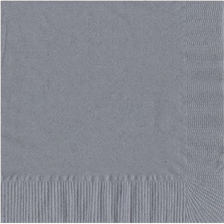 200 -  (4 Pks of 50) 2 Ply Plain Solid Colors Luncheon Dinner Napkins Paper - Silver](Grey Paper Napkins)