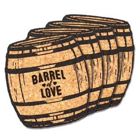 Oak Coaster - Ducky Days 8497194 4 x 4 in. Barrel of Love Oak Barrel Cork Coaster Wedding Favors - Set of 4