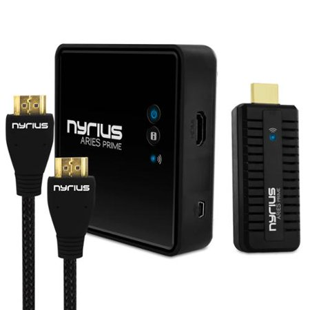 Nyrius ARIES Prime Wireless Video HDMI Transmitter & Receiver for HD 1080p Video Streaming with BONUS HDMI