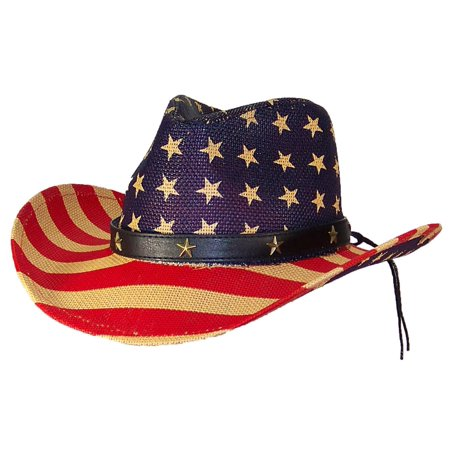 Tropic Hats - Tropic Hats Mens Patriotic U.S. Flag Cowboy Hat W Metal Stars  On Band (One Size) - Red Tan Navy Stars On Crown - Walmart.com c0e8df08a33