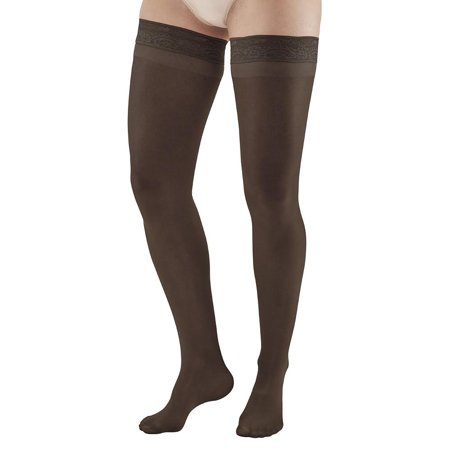 Ames Walker Women's AW Style 74 Soft Sheer Compression Thigh High Stockings w/ Lace Band - 8-15 mmHg Nylon/Spandex 74-P