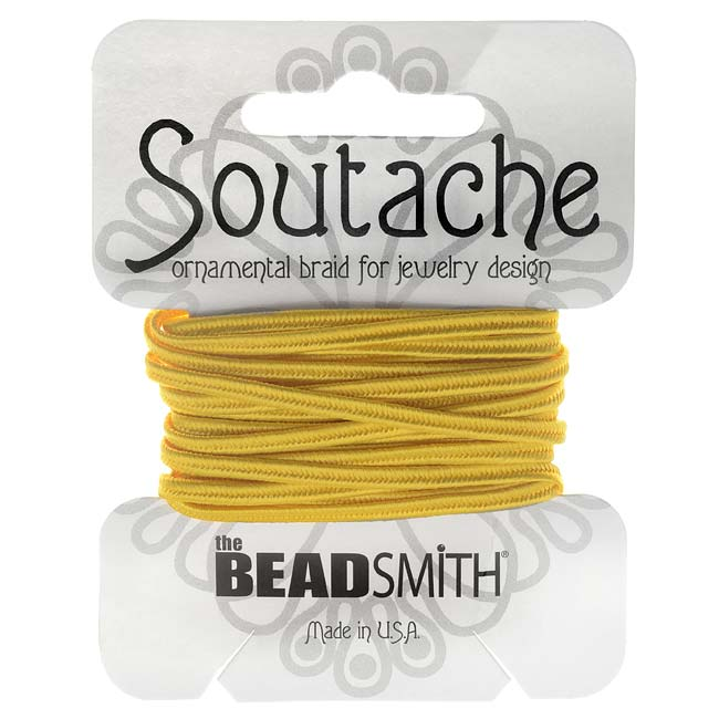 BeadSmith Soutache Braided Cord 3mm Wide - Goldenrod Yellow (3 Yards)