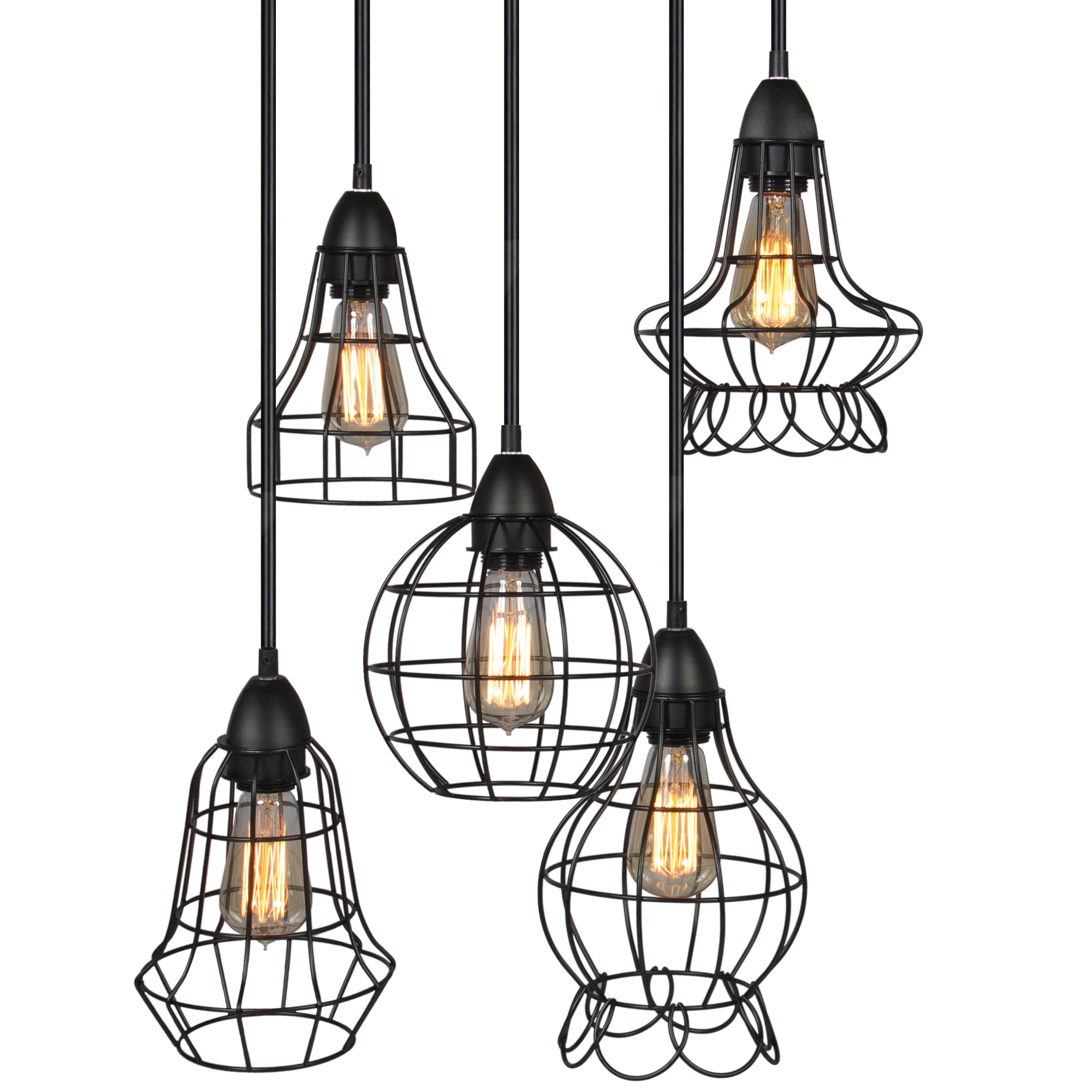 Best Choice Products Industrial Vintage Lighting Ceiling Chandelier 5 Lights Metal Hanging Fixture by