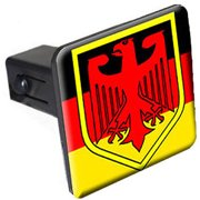 """German Flag And Crest 1.25"""" Tow Trailer Hitch Cover Plug Insert"""