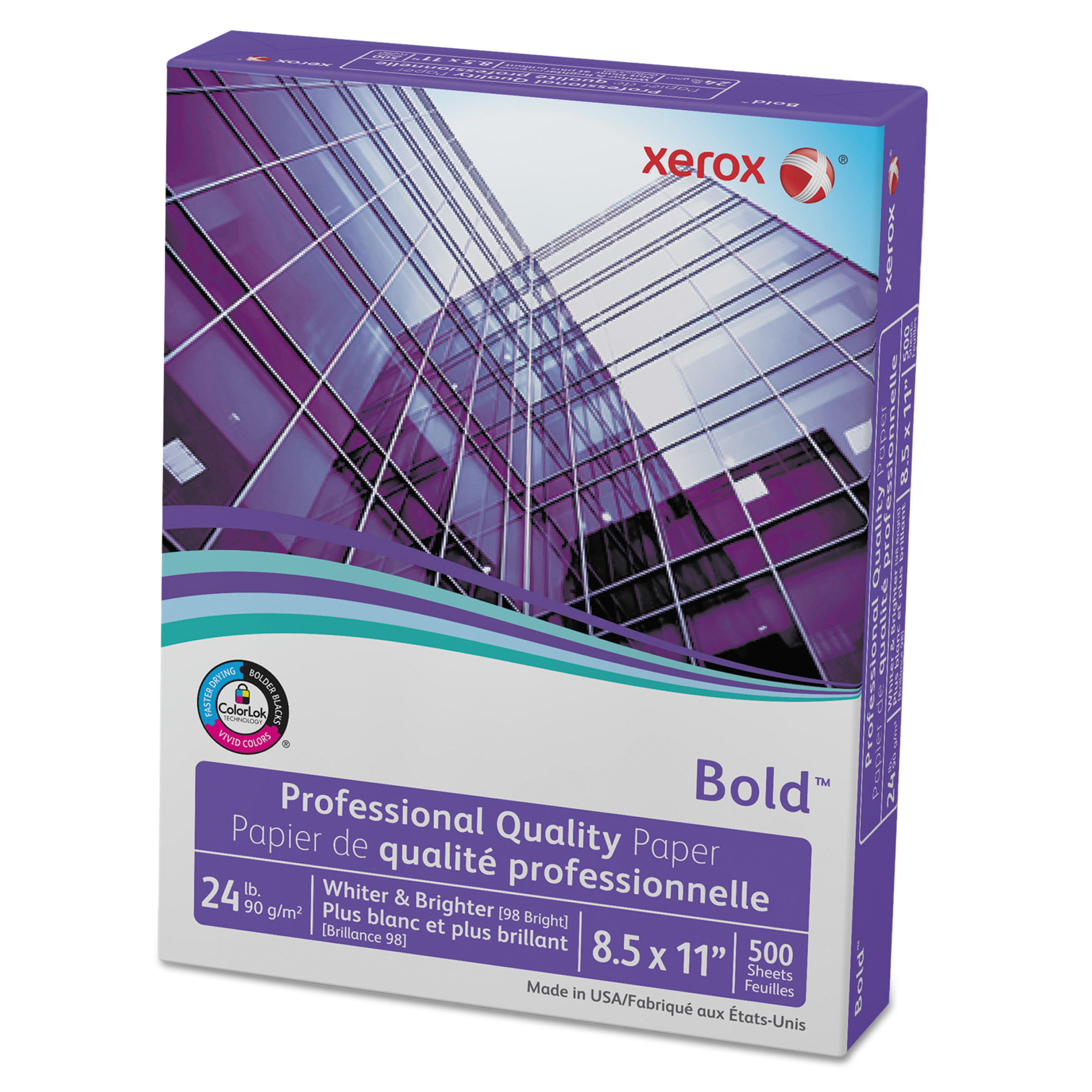 Xerox Bold Professional Quality Paper, 98 Bright, 8 1/2 x 11, White, 500 Sheets/RM