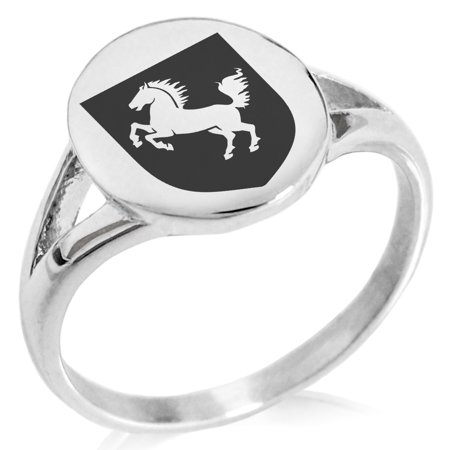Stainless Steel Horse Battle Coat of Arms Shield Minimalist Oval Top Polished Statement Signet (39lrd Battle Ring)