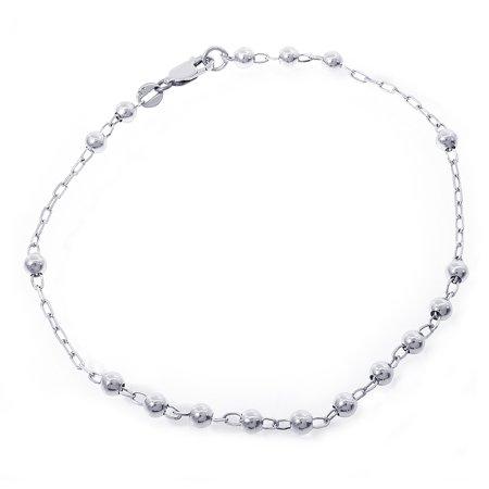 14k White Gold Bar Ankle Bracelet