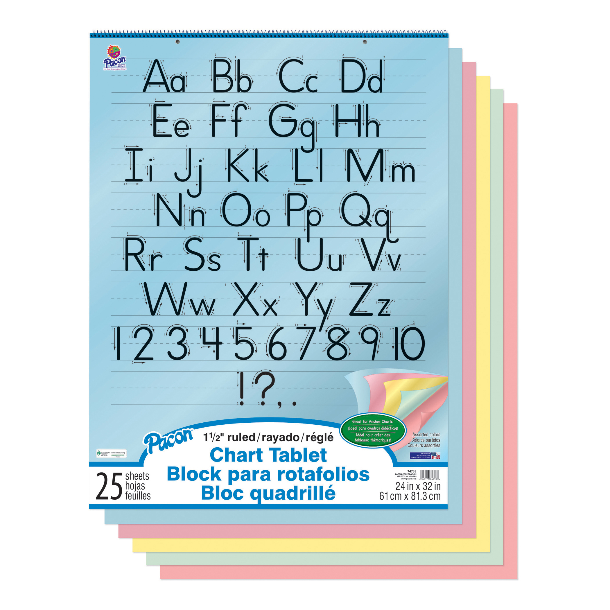 "Pacon® Chart Tablet, 1-1/2"" Ruled, 24"" x 32"", Assorted Colors, 25 Sheets"