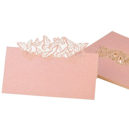 50pcs Wedding Party Table Name Place Cards Favor Decor Butterfly Laser Cut Design (Pink) - Wedding Table Favors
