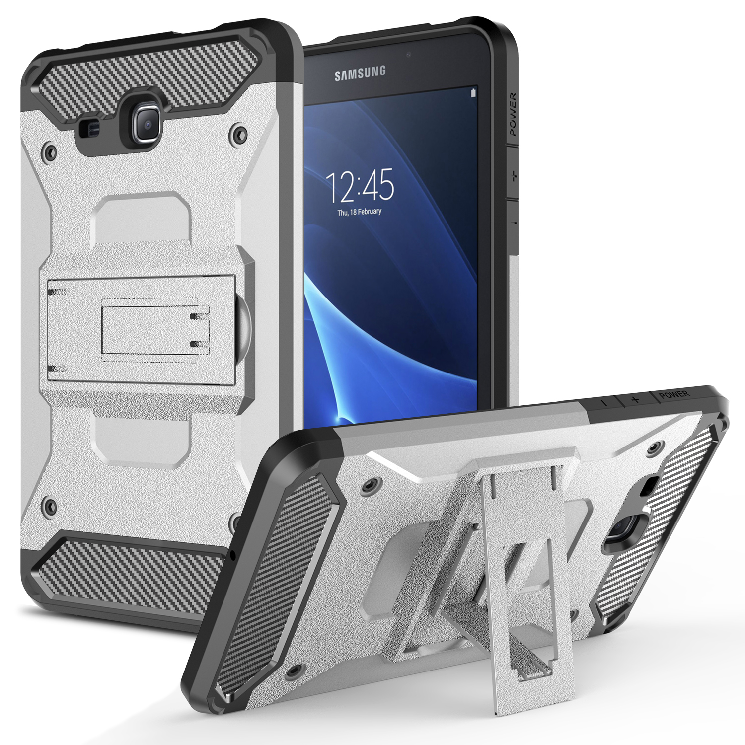 Galaxy Tab A 7.0 Case ((7 Inches) Heavy Duty Armor ShockProof Protective Combo Kickstand Case Cover with Kickstand for Samsung Galaxy Tab A 7.0 / SM-T280 (Silver)