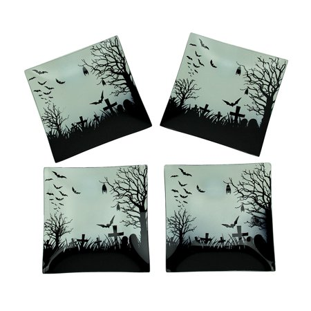 Set of 4 Spooky Bat and Cemetery Halloween Glass Plates - Glass Halloween Plates