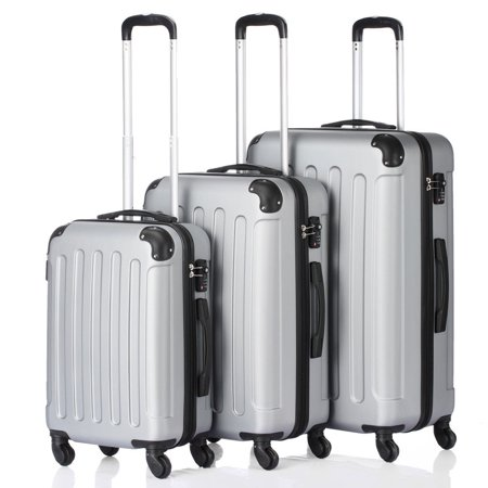 3PCS 20/24/28 Luggage Travel Set Bag ABS Trolley Hard Shell Suitcase w/TSA lock