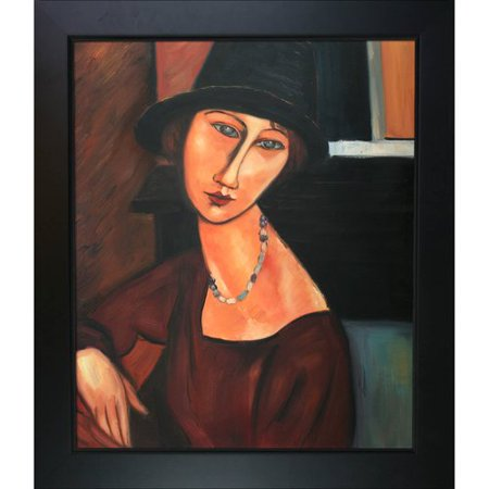 Tori Spelling Necklace - Tori Home Jeanne Hebuterne with Hat and Necklace by Amedeo Modigliani Framed Painting