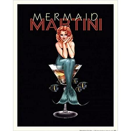 - Mermaid Martini by Ralph Burch 14x11 Art Print Poster Drinking Vintage Advertising Sexy Bar Art Woman