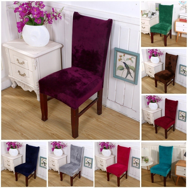 Stretch Fox Velvet Fabric Dining Room Wedding Party Kitchen Home Chair Seat Covers New