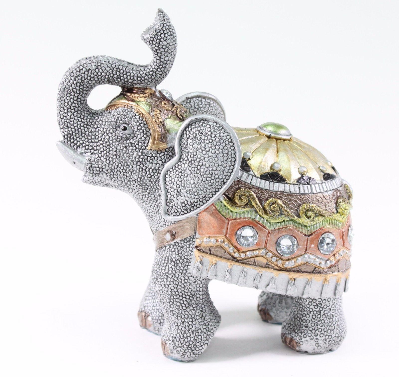 "Feng Shui 6.5"" Gray Elephant Trunk Statue Lucky Figurine Gift Home Decor"