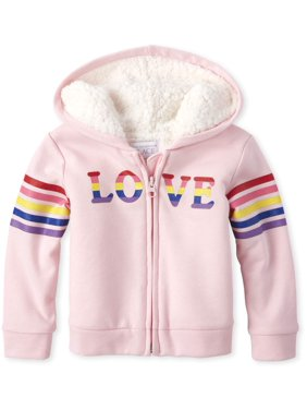 The Children's Place Baby Toddler Girl Glitter Rainbow Sleeve Striped Graphic Sherpa Hoodie