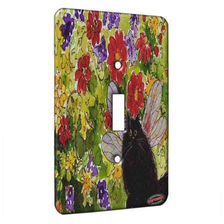 KuzmarK™ Single Gang Toggle Switch Wall Plate - Black Persian Kitty Fairy with Flowers Fantasy Cat Art by Denise Every - Kitty's Flowers