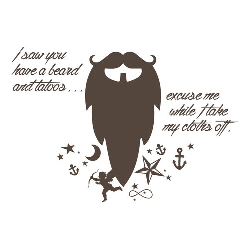 The Decal Guru Beard Funny Quote Wall Decal