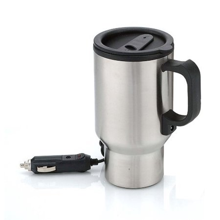 04f77f7b4f9 Stainless Steel Heated 12 Volt Travel Mug with Airtight Lid and Anti-Spill  Slider Cover
