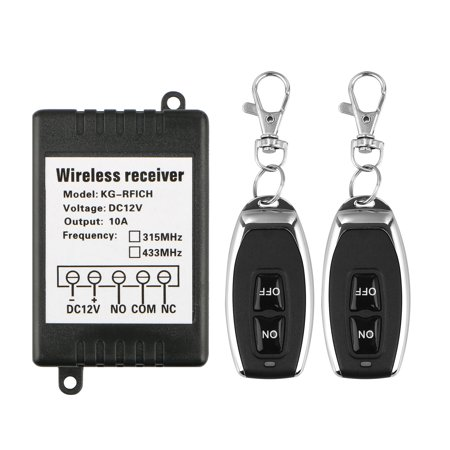 DC 12V 10A Channel 433Mhz RF Wireless Relay 328ft Long Range Remote Control Light Switch, Garage Door Opener, 2x Remote Control TransmitterS + 1x Receiver ()