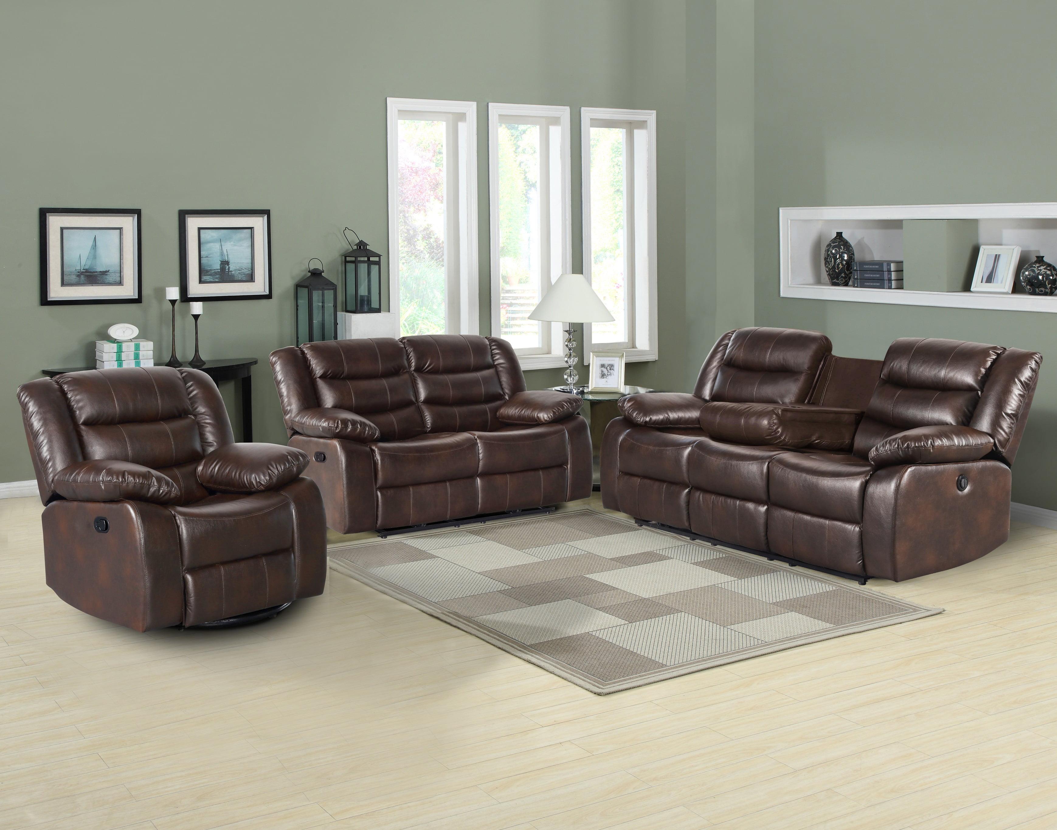 Us Pride Furniture Dash Pu Leather 3 Piece Recliner