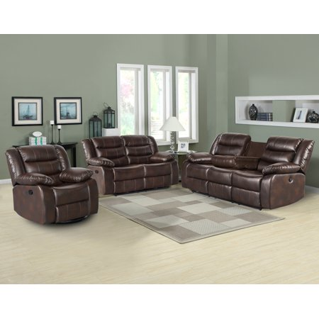 US Pride Furniture™ Dash PU Leather 3-Piece Recliner Living Room Set, Sofa, Loveseat, & Chair. Brown ()