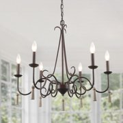 """LNC Rustic French Country Chandelier, 6 Lights 26.4"""" Farmhouse Chandelier Pendant Lighting for Dining Room, Vintage Rustic Kitchen Island Lights for Living Room"""