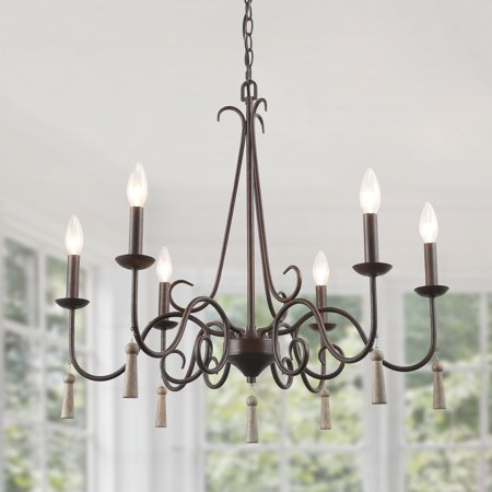 LNC Rustic French Country Chandelier, 6 Lights 26.4