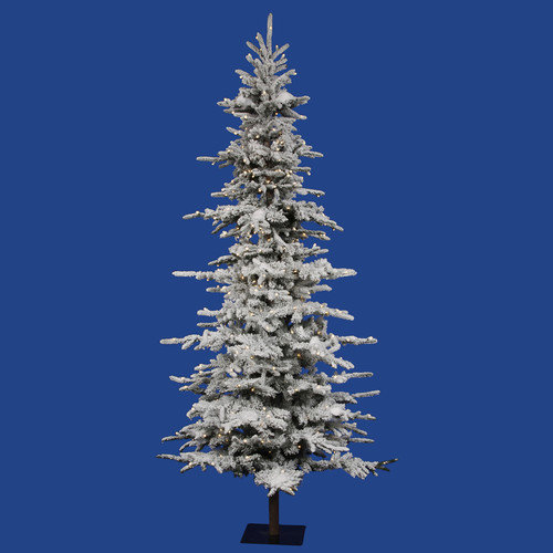 Vickerman Co. Flocked Georian Fir 9' Green Artificial Christmas Tree with 450 LED Lights with Rolling Stand