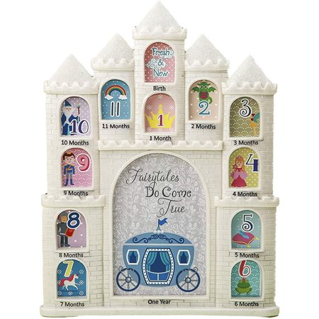 Mozlly White Fairy tales Do Come True Castle Baby First Year Collage Photo Frame Glitter Finish 12 x 9.5 Inch Nursery Room Decor For Little Prince & Princess Baby Shower Gift 1 Month-1 Year Pictures