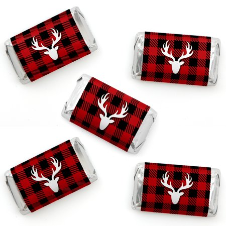 Prancing Plaid - Mini Candy Bar Wrapper Stickers - Reindeer Holiday and Christmas Party Small Favors - 40 Count](Nightmare Before Christmas Party Favors)