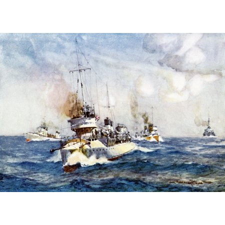 French Destroyers Colour illustration from the book France by Gordon Home published 1918 Poster Print by Hilary Jane Morgan  Design Pics (Green Gordon Pic)