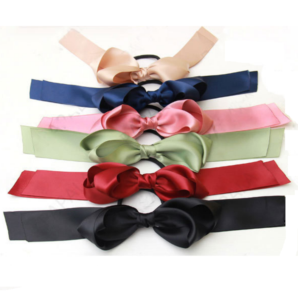 Outtop Women Multicolor Scrunchie Ponytail Holder Satin Ribbon Bow Hair Band Hair Rope